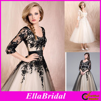Wholesale 2014 Hot Sale Modern A Line Tea Length White Black Lace Applique Half Sleeves V Neck Bridal Gowns Garden Wedding Dresses Dress Gown HK131