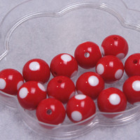 16mm gumball beads - Christmas red with white dots acrylic jewelry necklace gumball beads pieces round MM chunky kids necklace gumball beads
