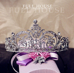 Wholesale 18K White Gold Plated Austria Crystal Rhinestone Bridal Hair Jewelry Wedding Hair Accessories Pageant Tiaras and Crowns