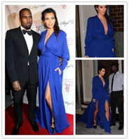 Reference Images V-Neck Chiffon Cheap Kim Kardashian Hot Celebrity Evening Dress Plunging V Neckline Long Sleeves Evening Gowns with High Slit Long Chiffon Prom Dresses