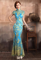 Graceful sky blue slim reformed Cheongsam toast clothing hig...