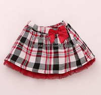Wholesale Girls Cute Plaid Skirts Mini Skirt Baby Clothing Lace Short Skirts Fashion Bowknot Princess Skirt Kids Clothes Red Skirts Children Skirt
