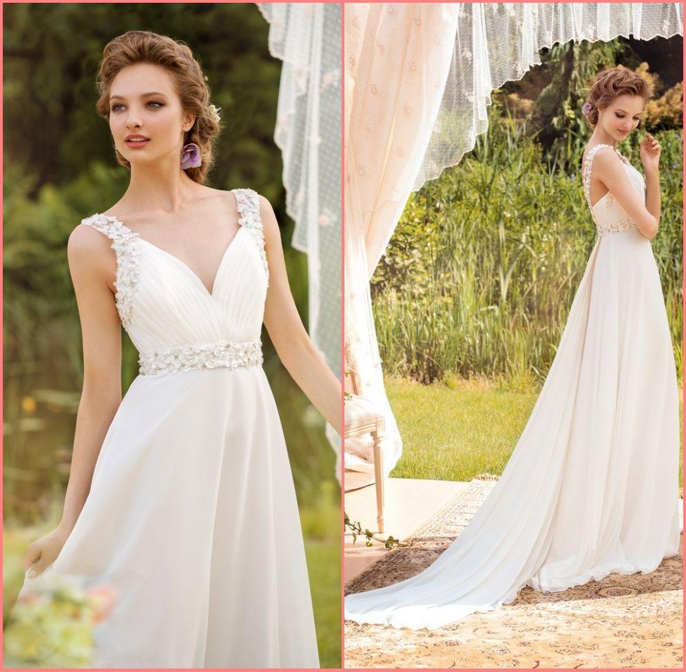 2015 cheap chifffon wedding dresses white sexy v neck a for Cheap wedding dress websites