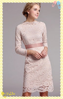 Wholesale 2014 Sample Fashion Mother Of The Bride Dresses Column Knee Length Long Sleeve Lace Satin Ribbon Zipper Elegant Stunning Party Ladies Dress