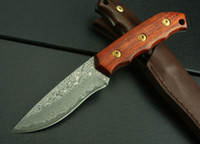 Wholesale damascus knives hunting knife camping outdoor fixed blade straight knife HRC wood handle leather sleeve