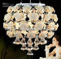 Wholesale K9 Crystal White Pink ABS Rose LED Pendant Lamp Modern Fashion Pop Design Chandelier Dining Room Light D400mm H390mm