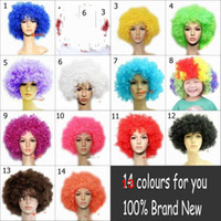 Wholesale Multicolor Fashion FOOTBALL FAN Party Cosplay Halloween Carnival Synthetic Short Afro Clown Hair Wig Wigs Colours