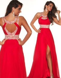 Wholesale 2014 Red Chiffon A line Party Dresses with Sequins Backless Special Occasion Pageant Gowns P