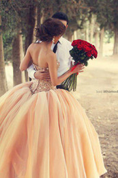 Wholesale 2014 New Sexy Peach Strapless Organza Ball Gown Wedding Dresses Beaded Crystals Top Tulle Bridal Gowns BO3000
