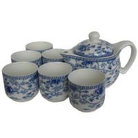 Wholesale Blue and White Ceramic Tea Sets Kung Fu Porcelain Tea Cup Large Size Teapot