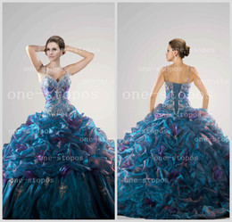 Wholesale 2014 Hot Quinceanera Dresses Spaghetti Straps Ball Gown Embroidery Appliques Beads Crystal Glitz Tiered Skirt Prom Gown QC26644