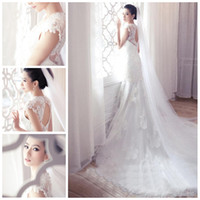 Wholesale 2014 Lace Dress Princess White Backless Appliques White Tulle A line Wedding Dresses fashion Corset Wedding Dress With Train GH005