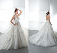 Wholesale 2014 New A line Wedding Dresses V neck Halter Backless Lace Crystals Beaded Applique Court Train Sexy Bridal Gowns DE1441