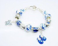 Charm Bracelets Unisex Fashion wholesale new 925 Silver Blue and white porcelain beads BABY SHOES charms with bracelet Free shipping,fashion bracelet jewelry