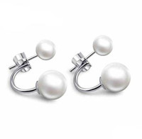 Wholesale Sterling silver earings Double shell pearl natural pearl stud earrings Girls fashion accessories