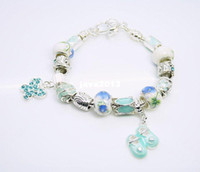 Charm Bracelets Unisex Fashion wholesale fashion bracelet jewelry,new 925 Silver Blue flower white beads BABY SHOES charms with bracelet Free shipping