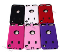 Wholesale Hybrid White Inner Rugged Impact Hard Soft Skin Cover Case for Apple iPod Touch dhl free