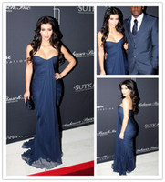 Reference Images Strapless Chiffon Kim Kardashian Sexy Engagement Dresses Strapless Pleat Chiffon Evening Dresses Long Party Dresses Navy Blue Bridesmaid Dresses Maid of Honor