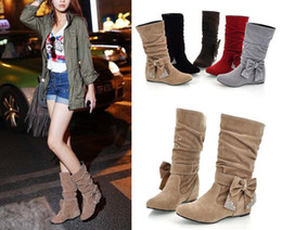 Wholesale Fashion Women Winter Boots Bow Mid Calf Flat Boots Shoes