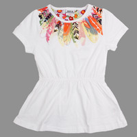Wholesale H3536 Nova y y kids clothes sweet lovely baby girls T shirts beautiful flowers printing tees cotton short sleeve summer white tunic tops