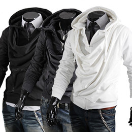 Wholesale Hot Men Heap collar Slim hooded sweaters qjq512 M XXL
