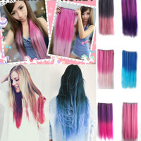 Wholesale gradient Colors women s fashion synthetic clip hair pieces long straight hair extension