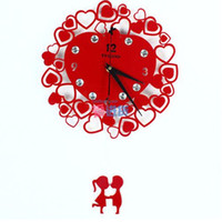 Wholesale Hot Sale Chinese National Creative LOVE Modern Design Acrylic Silent Wall Clock Fashion Wedding Wall Hanging Clock Red