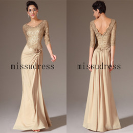 2014 New Arrival V-neck A-Line Lace Satin Chiffon Mother of the Bride Dress Long Formal Evening Dress Custom Made