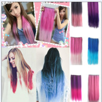 Wholesale Very Fashion gradient Colors women s fashion synthetic clip hair pieces long straight hair extension