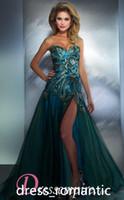 Reference Images Sweetheart Satin 2014 Hot Sweetheart Peacock Blue Side slit Tulle Prom Dresses with Rhinestones and Backless 42660MD