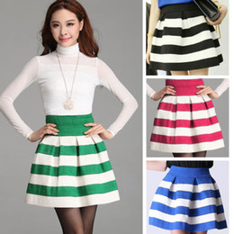 Wholesale New Vogue Scalloped Stripes Ponte Skirt Women Girls Skirt Colors Mini Dress