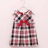 TuTu Summer A-Line Girls Cute Plaid Dresses Suspender Dress Children Clothing Fashion Red Bowknot Princess Dresses Kids Clothes Baby Summer Dress Jumper Skirt