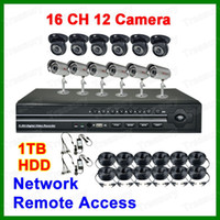 Wholesale 16 CH CCTV IR Security Cameras TB GB HDD H Net DVR Recording Surveillance System For Indoor Outdoor Use
