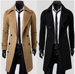Wholesale thickening cashmere coat mens outerwear woolen slim overcoat mens overcoat dropship Q23