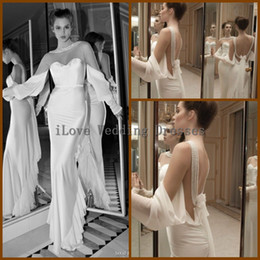 Wholesale 2014 Spring Summer Sheath Sweetheart Long Sleeve Wedding Dresses Floor Length Flowing Chiffon White Beach Bridal Gowns Backless Pearls Y1682