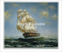 One Panel Oil Painting Classical Diy Gta V Wall Pictures Battle Wagon Sailing In The Sea Against The Bad Weather SBO056