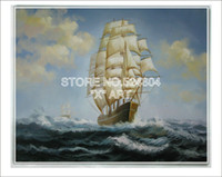 One Panel Oil Painting Classical Wall Pictures Gta V Diy Battle Wagon Sailing On The Deep Blue Sea With Turbulent Wave SBO055