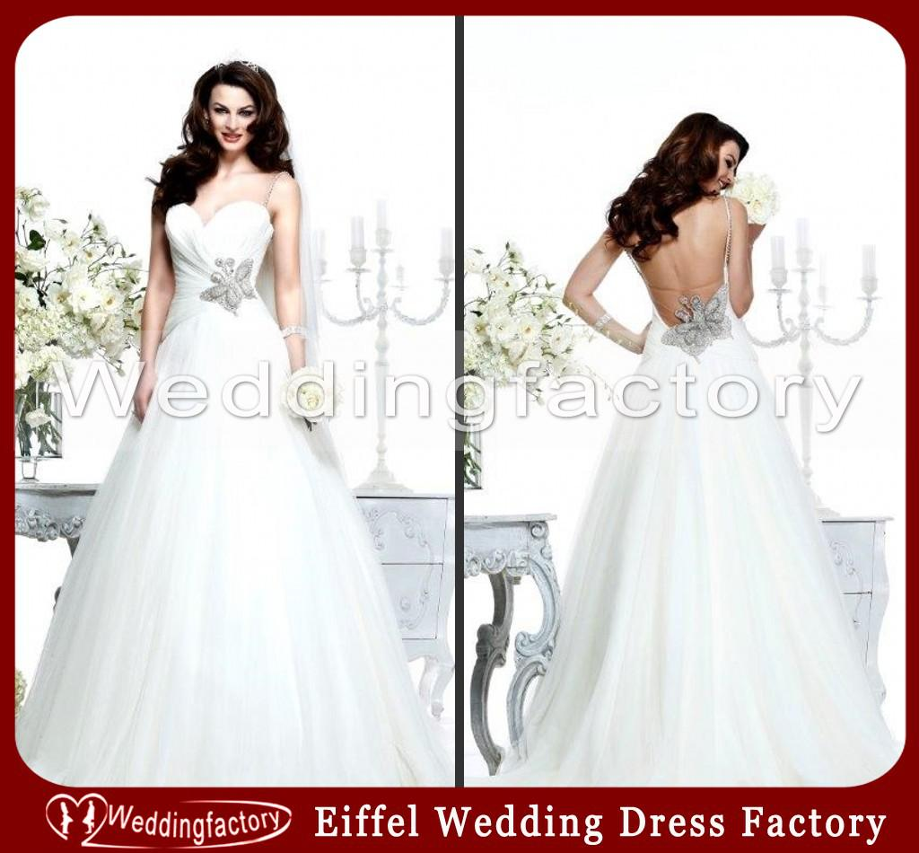 2014 y Open Low Back Wedding Dresses Ball Gown