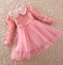 Wholesale Childen Clothing Fall Winter Long Sleeve Thicken Leyo Girls Wedding Dress Sequins Rose Flower Child Princess Dress Kids Party Dresses QZ347
