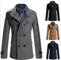 Wholesale 2016 New Men s Slim Casual Fashion Double Breasted Woolen Windbreak Trench Coats Overcoat color M XL F66