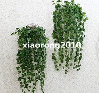 Wholesale HOT cm quot Length Artificial Wall Flowers Rattan Simulation Green Leaf Cane Vine Walls Hanging Decoration