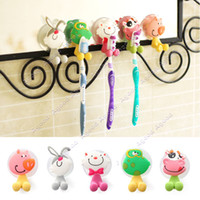 Wholesale 5pcs Ultra Cute Cartoon Sucker Toothbrush Holder Suction Hooks