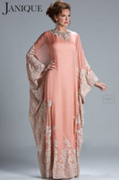 High Neck mother of bride chiffon dress - 2014 Pink Lace Appliques Chiffon A line Mother of the Bride Dresses with Long Sleeve JQ3309
