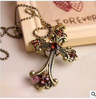 Wholesale Mix Cross pendant women s Jewelry Necklace crystal bead Titanium Stainless Steel NEW style