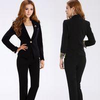 Cheap Spring black fashion long-sleeve work wear women's set women's suit ol formal work wear cheap business suits for women