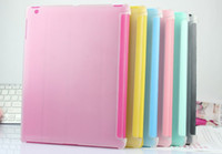 Wholesale Candy Clear Hard PC Leather Case Leather Smart Cover for iPad smart cover case for IPAD2 Tablet PC Cases Bags Factory Offer