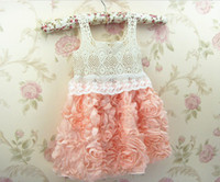TuTu Summer A-Line 2014 Fashion Baby Girl Dresses Rose Children Pink Lace Flower Dress Princess Kids Desses 5 Pcs Lot QZ349