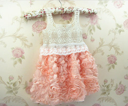 Wholesale 2014 Fashion Baby Girl Dresses Rose Children Pink Lace Flower Dress Princess Kids Desses QZ349