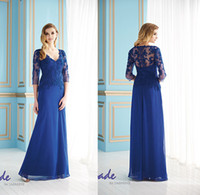 Wholesale Plus Size V Neck dhg Long Sleeves Mother of the Bride Groom Dresses Chiffon Blue Long Evening Gowns Formal Dress For Wedding Bridal