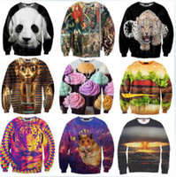 pullover men - New Winter Women Men Space print Galaxy hoodies Sweaters Pullovers panda tiger cat animal D Sweatshirt Tops T Shirt